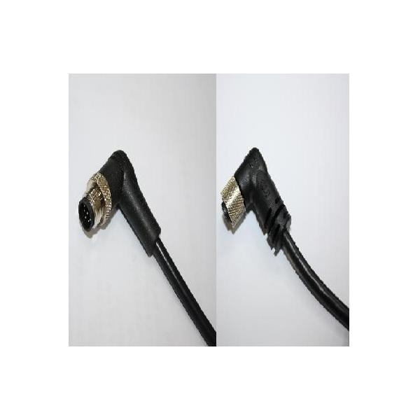 M12 B-Coding 4A 5P Cable End 90° Twin-head Male & Female